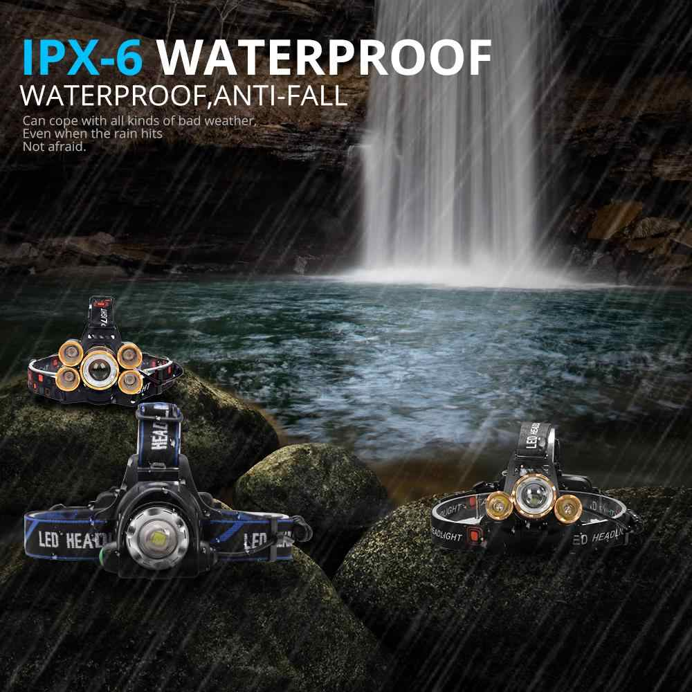Yeni sensör LED far 5 * T6 yüksek güçlü fener kafa lambası su geçirmez LED far el feneri başkanı işık şarj edilebilir 18650