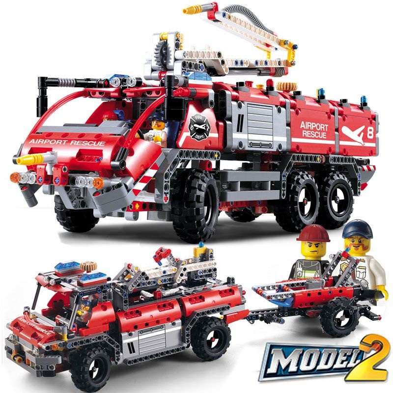 DECOOL City Technic Airport Rescue Vehicle Fire Building Blocks Sets Kits Bricks Classic Model Kids Toys Compatible Legoings