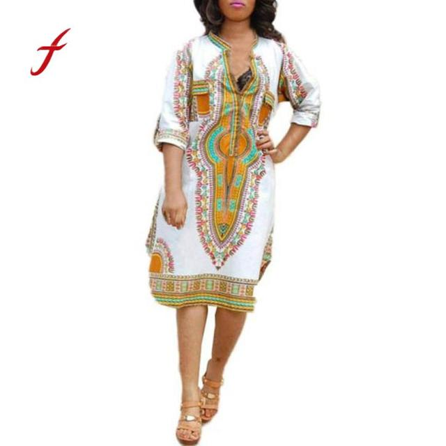7131c795790c 2018 New Women Summer Casual Deep V-Neck Traditional African Print Party  Dresses women dresses lady dresses