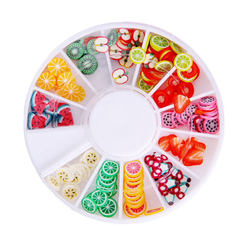 Acrylic DIY 200Pcs Nail Art Decorations Fruit Slices 3D Polymer Clay Tiny Fimo Wheel Nail Art Rhinestones Decoration Manicure 1000pcs pack 3d fimo nail art decorations fimo canes polymer clay canes nail stickers diy 3mm fruit feather slices design zj1202