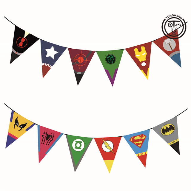 Superhero Avengers Banner Ironman Batman Superman Birthday Party Decorations