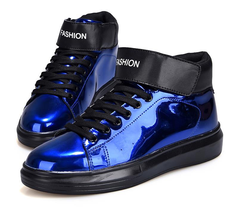 Azul Zapatos Hombres Para Brillante Casuales plata De Cuero Patente Moda Hombre Calzado Los oro Transpirable Cómodos Plano OWzTqAY6n