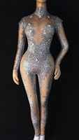 High Quality Silver Long Sleeve Beading High Elasticity Jumpsuit Nightclub DJ Party Jumpsuit