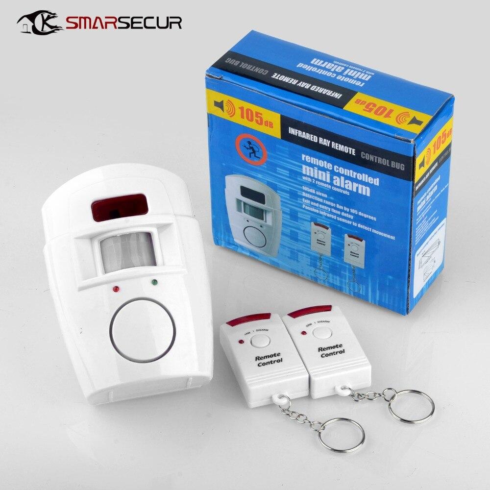 2 controle remoto sem fio de segurança em casa pir alerta sensor infravermelho sistema de alarme anti-roubo detector de movimento alarme 105db sirene