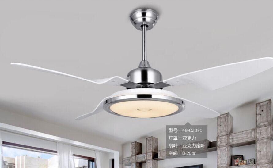 48 pouces ventilateur de plafond conduit chambre ventilateur lumire plafond lampe minimalisme moderne tlcommande ventilateurs en acier inoxydable dans - Ventilateur De Plafond Pour Chambre