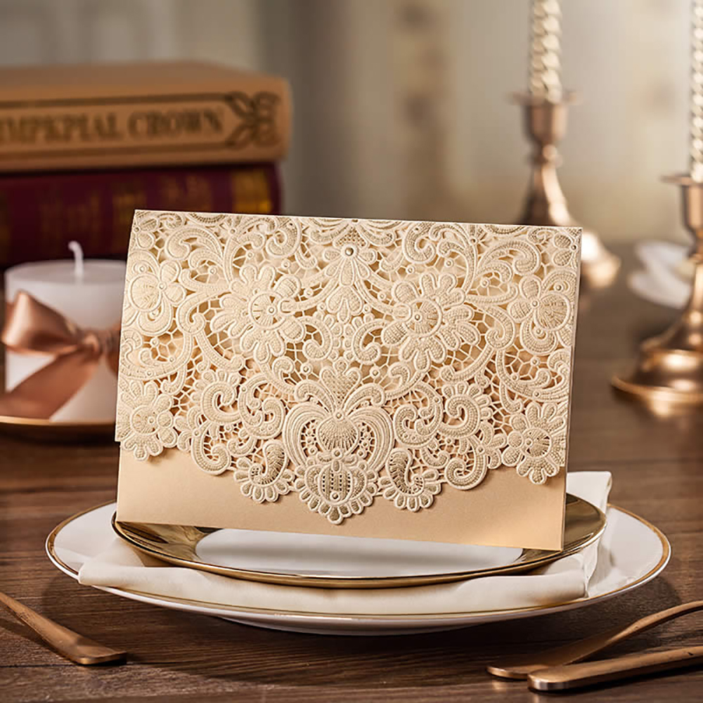 Aliexpress Buy 10sets Laser Cut Design Floral Embossing – Blank Pocket Wedding Invitations