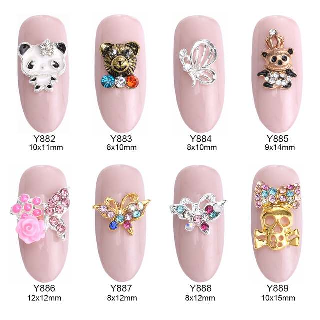 10pcs Cute bear metal nail art kung fu panda glitters butterfly strass mix  rhinestones flowers skull bow jewelry nails Y882~889 d779d9f244ef