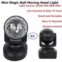 8 Unit Mini RGB LED Crystal Magic Ball Stage Effect Lighting Disco Lamp Party Dj Nightclub