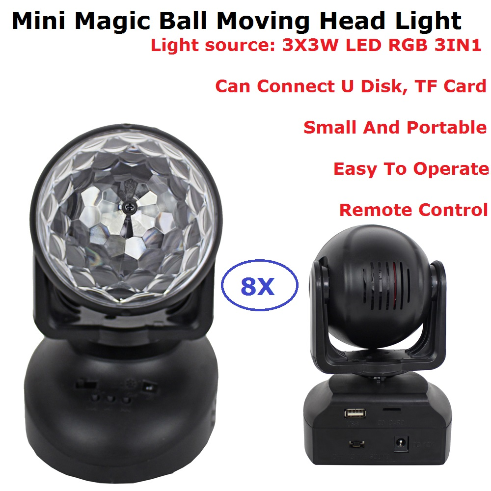 8 Unit Mini RGB LED Crystal Magic Ball Stage Effect Lighting Disco Lamp Party Dj Nightclub Bar Lights With Remote Control mini rgb led crystal magic ball stage effect lighting lamp bulb party disco club dj light show lumiere
