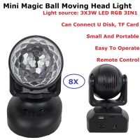 8 Unit Mini RGB LED Crystal Magic Ball Stage Effect Lighting Disco Lamp Party Dj Nightclub