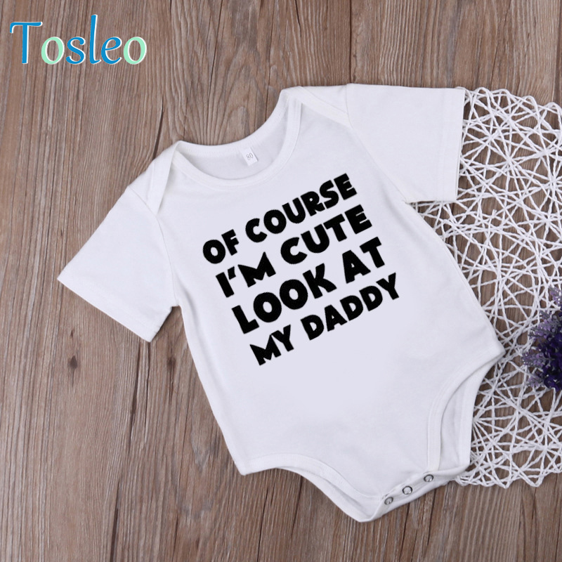2018 Funny Baby Bodysuit Summer Baby Clothes White Cotton Onesie Bodysuit for Toddlers Letter Printed