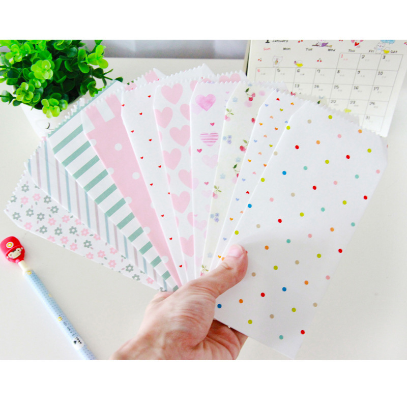 150pcs / Lot  Romantic Cartoon Pattern Kawaii Strip Paper Envelope Sobres Papel/invitation Envelope Gilt Decorated/whloesale