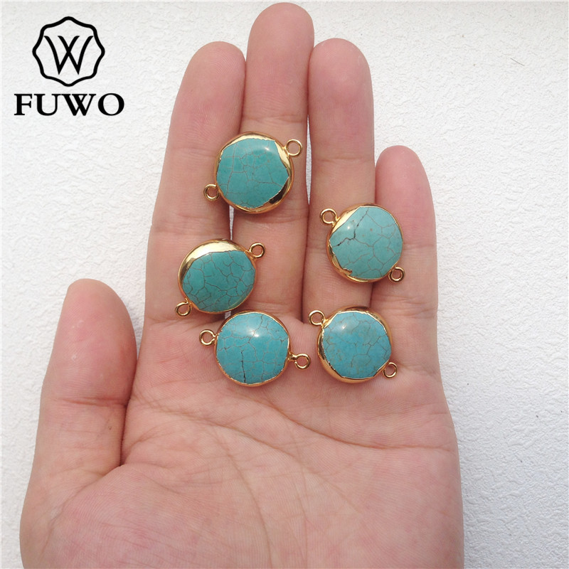 FUWO Round Turquoises Connector Pendants With 24K Gold Filled Edge Raw Double Bails Green Howlite Jewelry Wholesale PD053