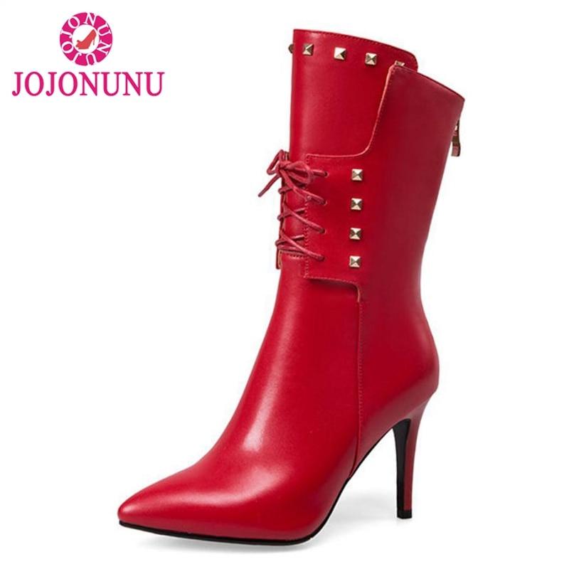 цена на JOJONUNU Brand Shoes Women Real Leather Mid Calf Boots Women Pointed Toe Rivets Zip Boots Lady Thick Fur Winter Botas Size 33-43