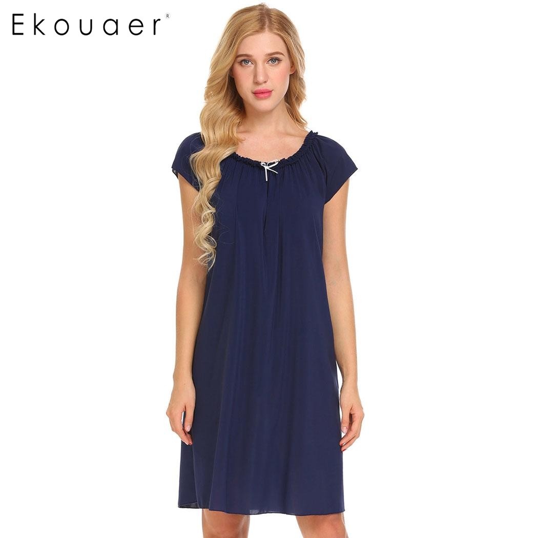 Ekouear Casual Women Short Sleeve Sleepwear Ruffles Lounge Sleep Dress Solid Loose Chiffon Nightgown Female Nightwear Nighty