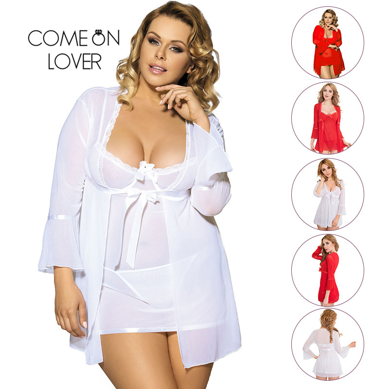 Comeonlover Wholesale Sexy Plus Size Lingerie Femme Porno High Quality Soft Nightgown Top +G string+Coat Sexy Pajamas RI80185 2