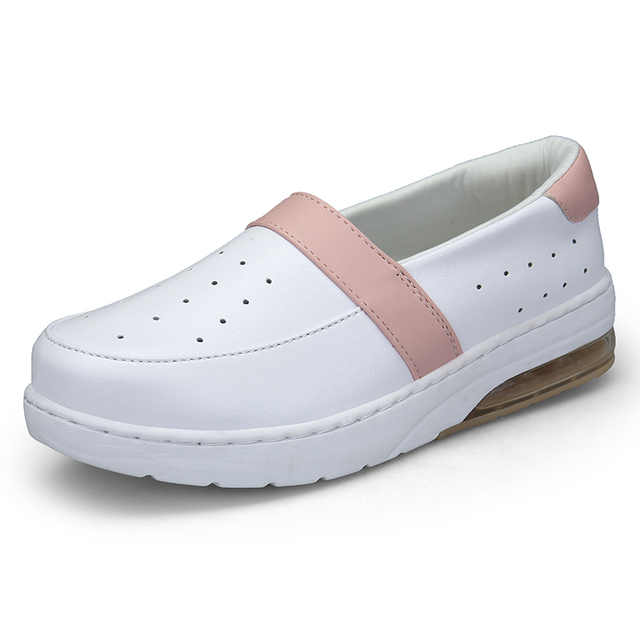2018 New Nurse Shoes Woman Genuine Leather White Air Cushion Comfortable  Work Shoes Office Career Hospital 12175b491