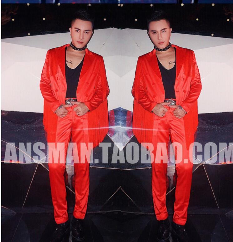 2019 new European and American stage male singer DJ fashion red personality tassel suit costume suit men clothing