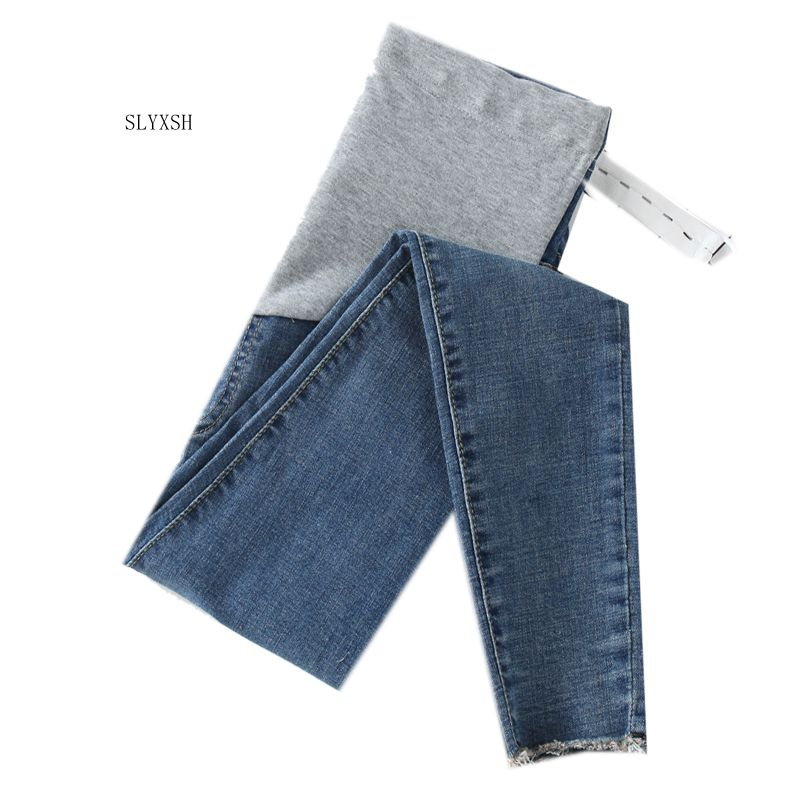 SLYXSH Length Stretch Washed Denim Maternity Jeans Summer Fashion Pencil Trousers Clothes for Pregnant Women Pregnancy Pants