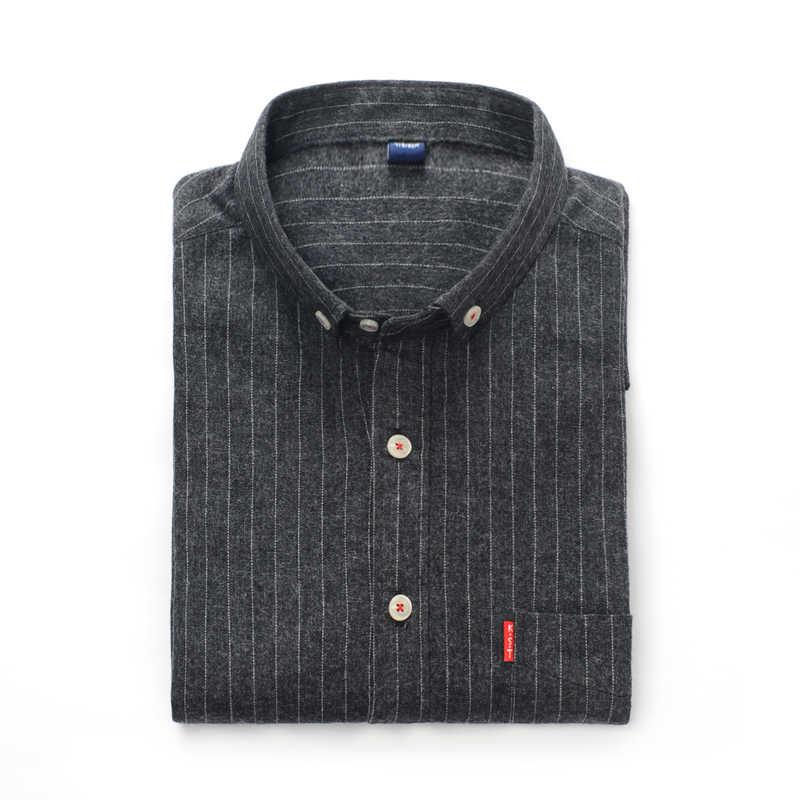 Новые осенние мужские рубашки в стиле кэжуал, полосатые модные хлопковые рубашки на пуговицах с длинным рукавом, облегающие деловые мужские рубашки с карманом
