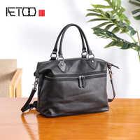 AETOO мужская сумка кожаная повседневная сумка на плечо крестик Мужская Большая вместительная сумка для путешествий из воловьей кожи