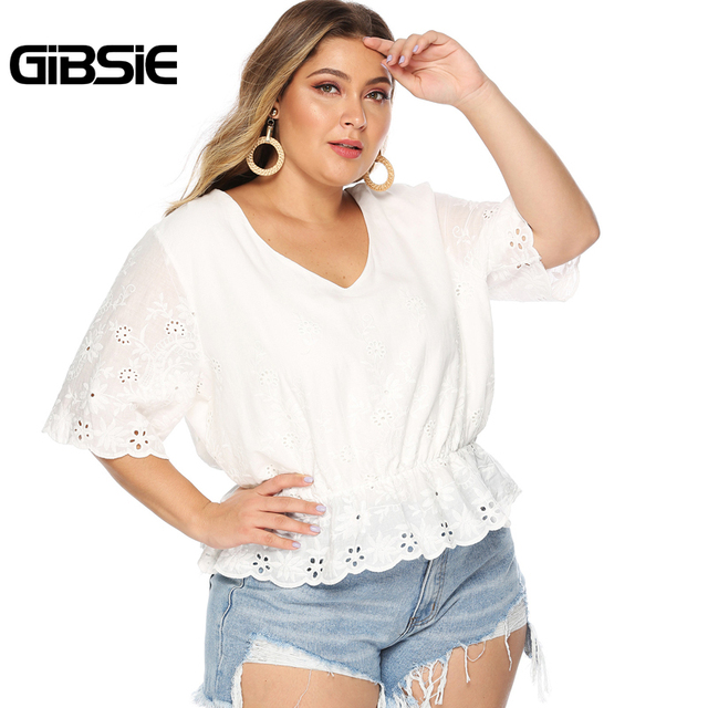 GIBSIE Plus Size Hollow Out Embroidery White Blouse Women's Summer Cotton Peplum Tops V-Neck Half Sleeve Casual Ladies Shirts 1