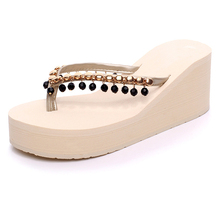 HEE GRAND 2017 Summer Flip Flops Tassel Platform Wedges Sandals Beach Creepers Slip On Shoes Flats Woman Casual Slippers XWT572