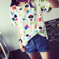 The new New  Fashion Summer T-shirt Women  printing short sleeve  loose han edition fashion render unlined upper garment