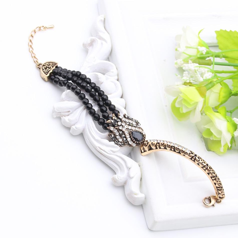 Gelang Pautan Manik Wanita Turki Antik Tulip Resin Manset Piring Emas - Perhiasan fesyen - Foto 5