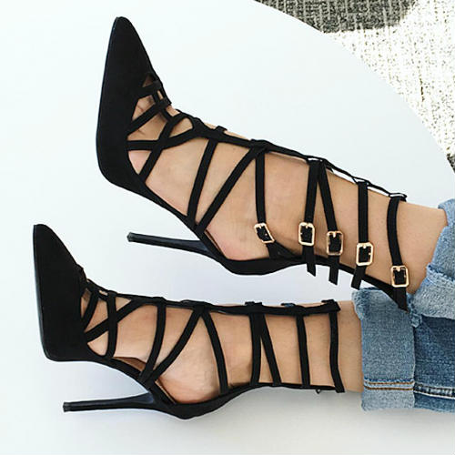 ФОТО Black Suede Caged Over Buckle Strap Heels 2017 Newest Pointed Toe Cutout High Heel Shoes Woman Stiletto Heels