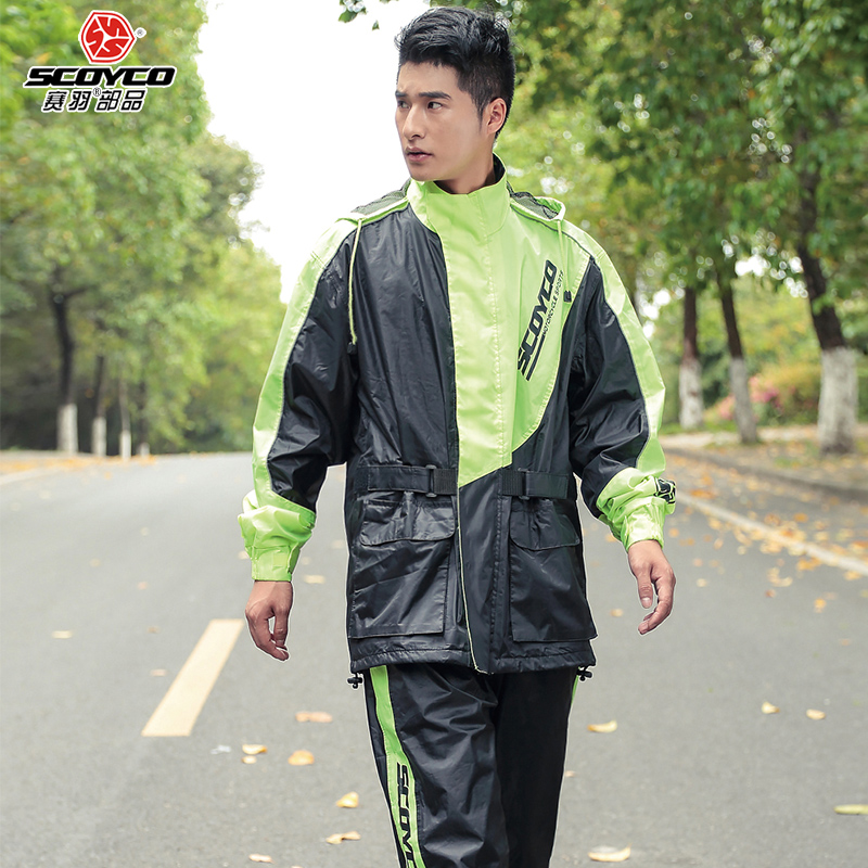 2017 Summer New SCOYCO Rain gear motorcycle riding raincoat set ain pants suit man split waterproof waterproof can reflective reflective raincoat rain pants waterproof single raincoat men and women for riding working free shipping