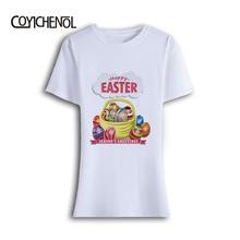 O-Neck modal tshirt Women Modal Easter Bunny Printed long sleeve slim  T-shirt homme Eggs printed women tops