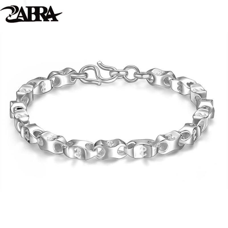 Real Pure 925 Sterling Silver Bracelets Men Women