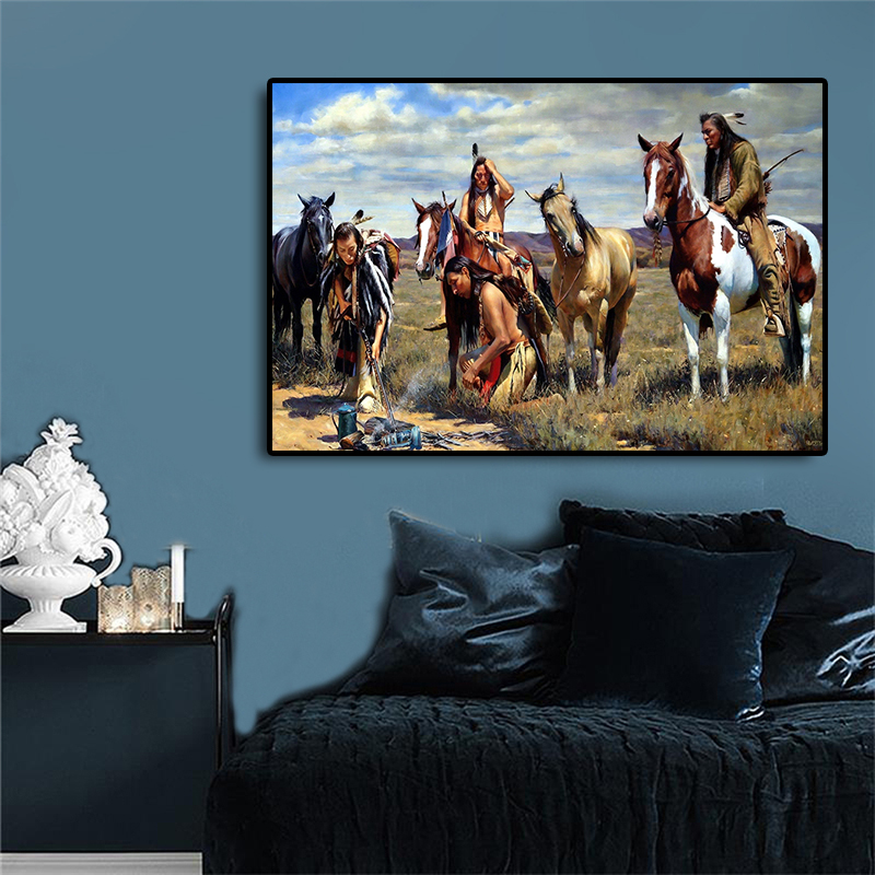 Native Indian Portrait Painting Grassland Horse Canvas Posters and Prints Scandinavian Wall Art Picture for Living Room(China)