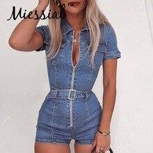 6e6ab86d67036 Miessial Sexy blue denim playsuit women Party zipper summer playsuit casual  jeans romper Female fashion belt club short jumpsuit