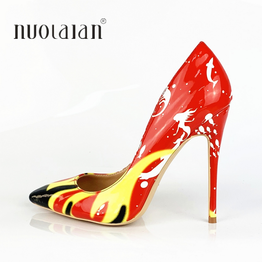12/10/8CM Women Shoes Stiletto High Heels Ladies Sexy Patent Leather High Heel Shoes Pointed Toe Pumps Dress Wedding Shoes
