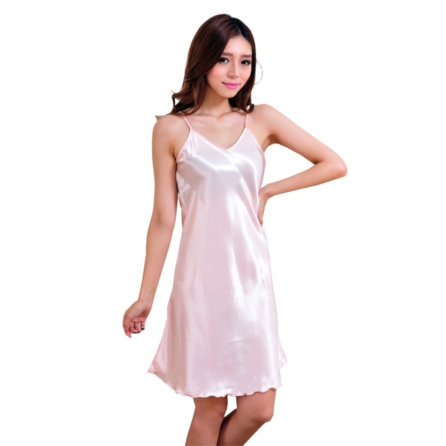 Women Sexy Silk Satin Nightgown Solid Nightdress Stretch Babydoll Mini  Dress Sleepwear Sexy Lingerie Plus Size Nightwear 77a9fd734