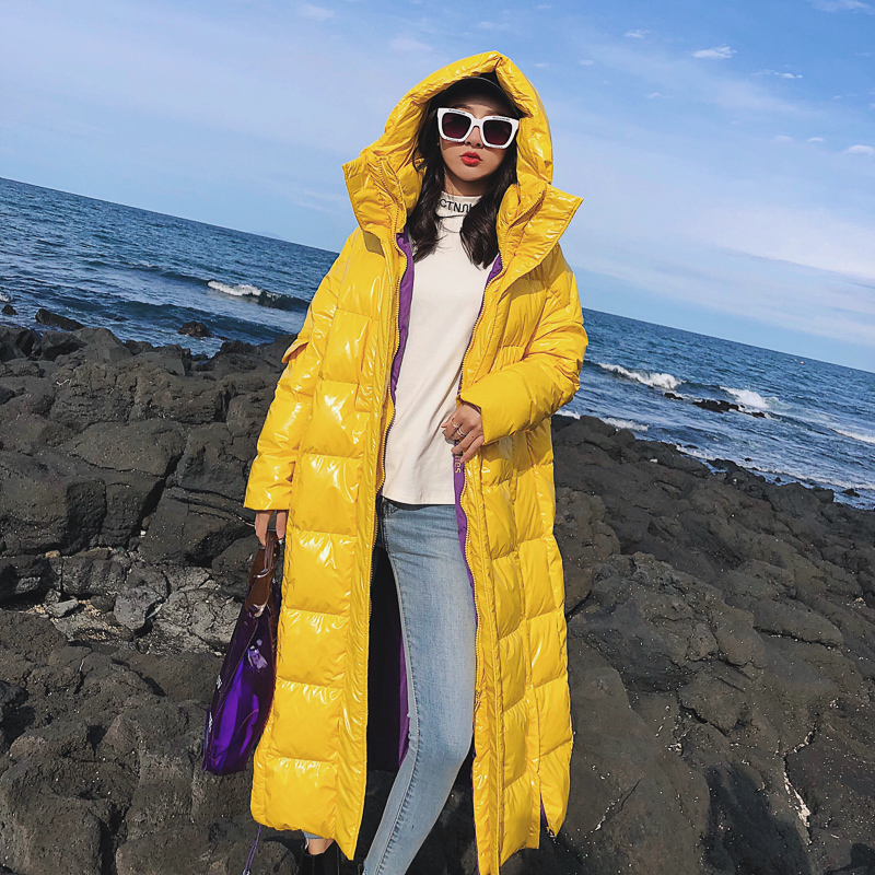 Womens Down Jacket Winter 90% White Duck Down Coats 2019 New Arrival Extra Long Hooded Warm Patent Leather Shiny Down Parka