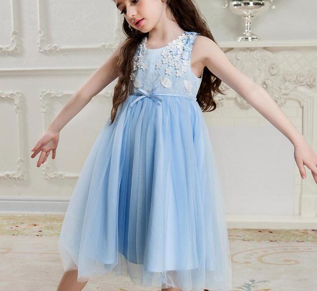 840cc7f1b4ea 2017 Детские Обувь для девочек элегантный Цветочный длинная сетчатая цветок  Платья для женщин, принцесса дети