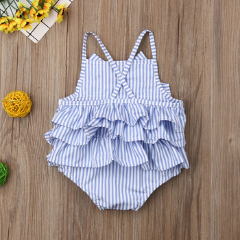 New Product 2019 Summer Baby Girls Striped Bow Sleeveless Ruffle Bodysuit Outfits 1