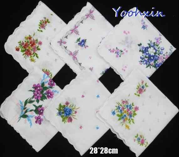 5pcs/lot 28CM HOT Cotton white lace Printed women square Handkerchief ladies hanky Children towel wedding party Christmas gift