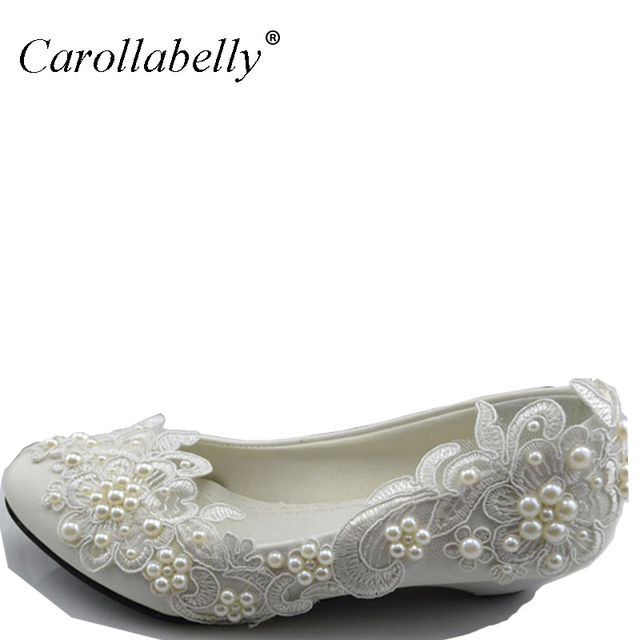 de9ee1e372 US $21.99 |2017 New White Lace Pearls Flat Wedding Shoes For Female Spring  Autumn Party Shoes Pointed Toe Large Size EU34 44 Dress Shoes-in Women's ...