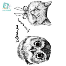 Rocooart RC2258 Disposable 3d Waterproof Tattoo Sticker Paiting Brush Drawing Owl Letter Large Temporary Tattoo Stickers