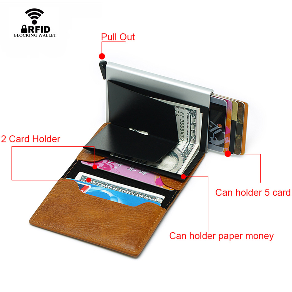 Mens Small Slim Leather Wallets Rfid Card Holder 34