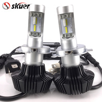 Free Shipping 1Pair LED Headlight Bulb Conversion Kit H4 80W 8000Lm 6500K Cool White Hi Lo