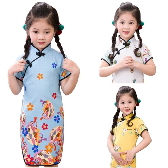 ae65ca43fa30f8 2018 Baby Girls Dress Floral Chinese Spring Festival Kids Traditional Qipao  Dresses Children Cheongsam Girl Clothes Vestidos Top