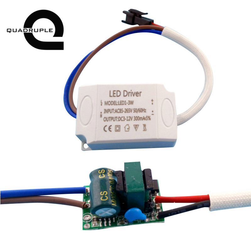 Quadruple 1-3Wx1W <font><b>LED</b></font> External <font><b>Driver</b></font> 1W 2W 3W Power Supply 300mA DC3V ~ 12V AC85V~265V for <font><b>LED</b></font> lights Lamp Lighting Transformer image
