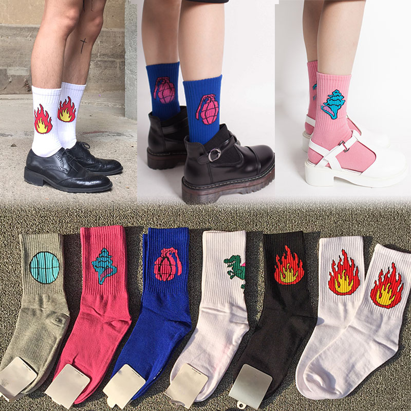 New Women Men Cotton Socks Funny Dinosaur Baseball Fire Patterned Socks Creative Lovers Sock Hot Sale