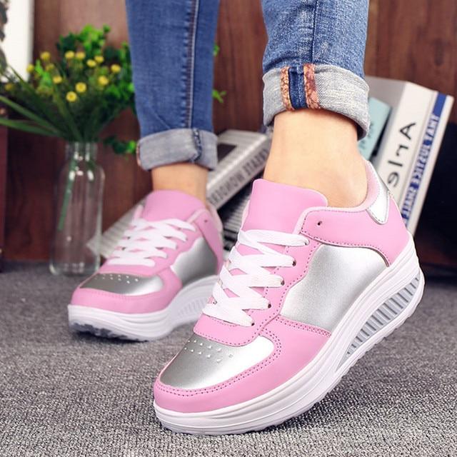 756b8437 € 19.17 49% de DESCUENTO Zapatillas de deporte de Mujer blanco plataforma  Zapatillas de verano cuñas zapatos casuales zapatos de la Mujer de ...