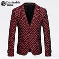 Мужские Красный Печатных Пиджак Пиджак Размер М-4XL Мужчины Свадьба Блейзер Проектирует 2017 Уменьшают Подходящую Весте Blazer Костюм Homme XK295